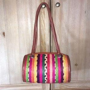 Handbags - Multicolor Straw Zip Top Barrel Bag Purse